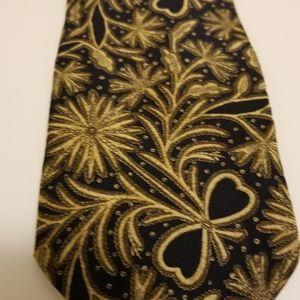 Emporio Armani silk tie gold paisley EUC